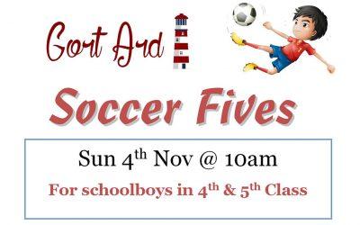 G.A. Soccer Fives – Sun 4 Nov @ 10am